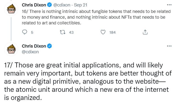 A16z合伙人Chris Dixon:我们仍处于Web 3的仿制时代,代币是新的数字原生